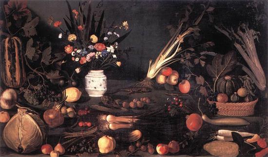"1590 Меризи да Караваджо ""Натюрморт с цветами и фруктами."""