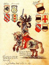 Рыцарь на турнире (немецкий гербовник)