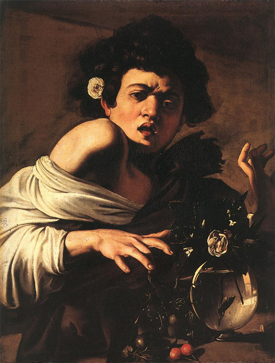 "1594 Меризи да Караваджо ""Мальчика укусила ящерица."""