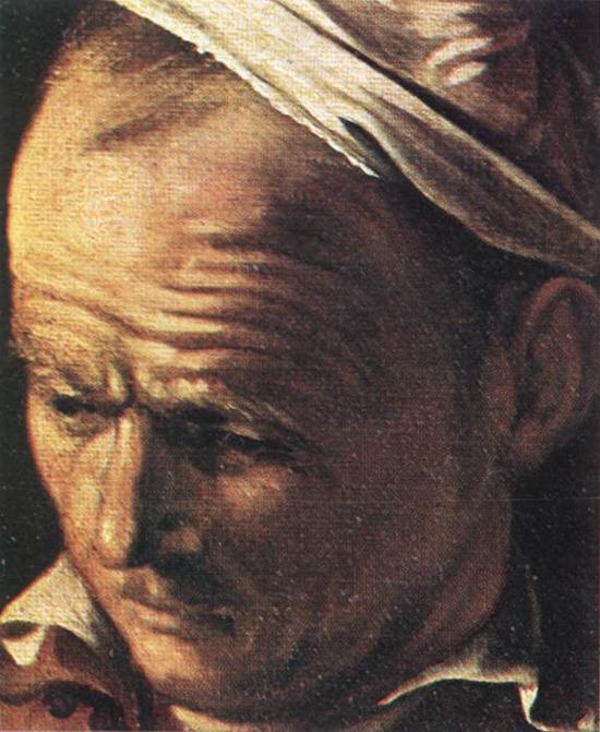 "1606 Меризи да Караваджо ""Ужин в Эммаусе (фрагмент)."""