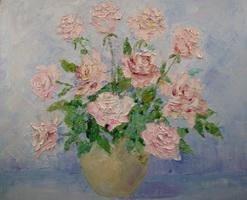 Розы (В. Меркулов, холст, масло, мастихин)