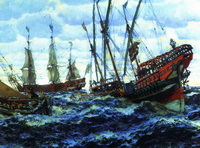 Корабли времен Петра I (Е.Е. Лансере, 1911 г.)
