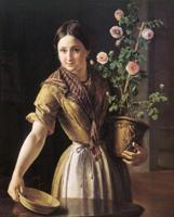 Девушка с горшком роз Василия Андреевича Тропинина