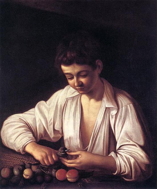 "1593 Меризи да Караваджо ""Мальчик, чистящий фрукты."""