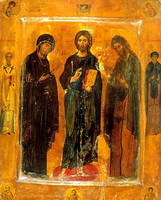 Трехчастный Деисус со святыми на полях