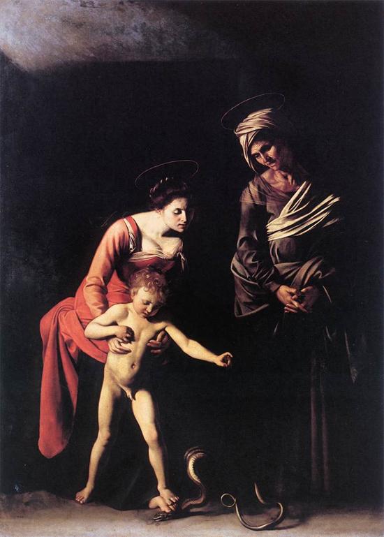 """1606 Меризи да Караваджо """"Мадонна со змеем."""""""