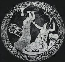 Сцена из трагедии Эсхила (Клитемнестра убивает Кассандру)