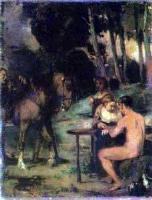 Художник Маре, Ханс фон. Вечерняя сцена в лесу.