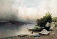 Картина Река и лодка